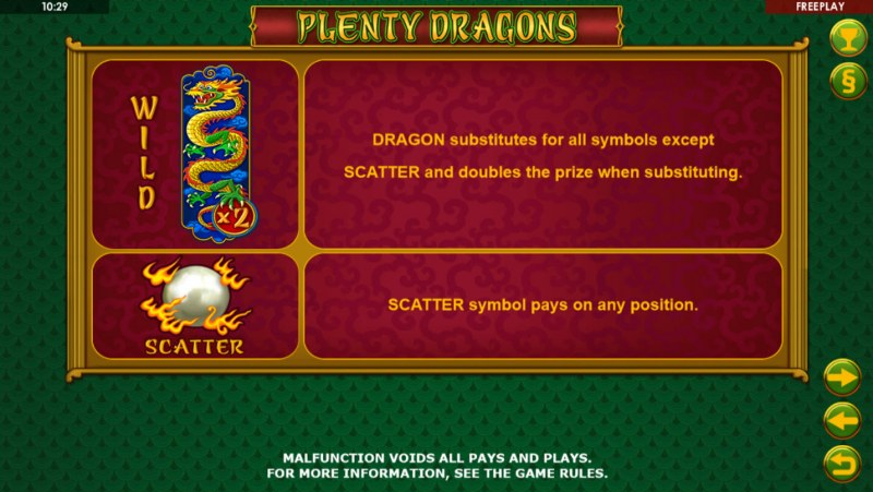 Plenty Dragons :: Wild and Scatter Rules