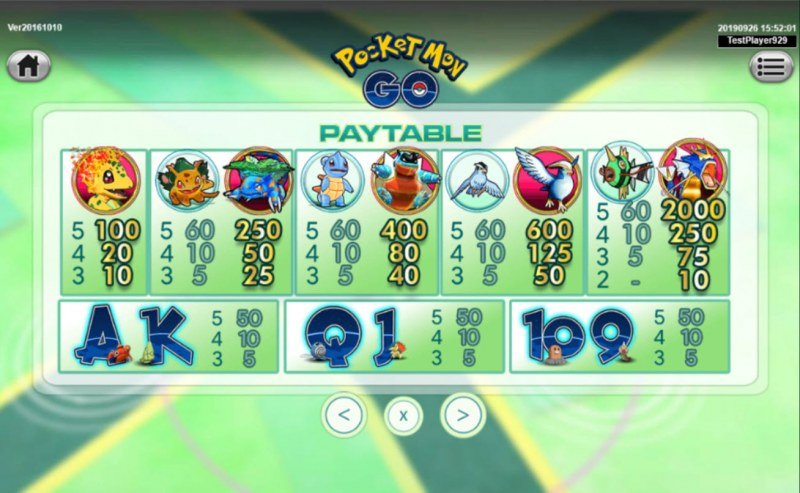 Pocket Mon Go :: Paytable