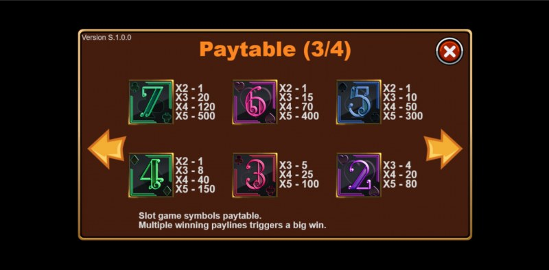 Poker King :: Paytable - Low Value Symbols