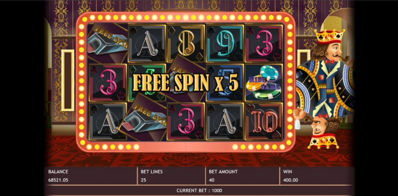Poker King :: Scatter symbols triggers the free spins bonus feature