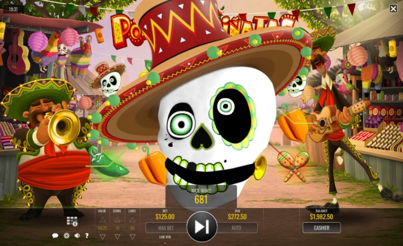 Play slots at Golden Lion: Golden Lion featuring the Video Slots Popping Pinatas with a maximum payout of $31,250