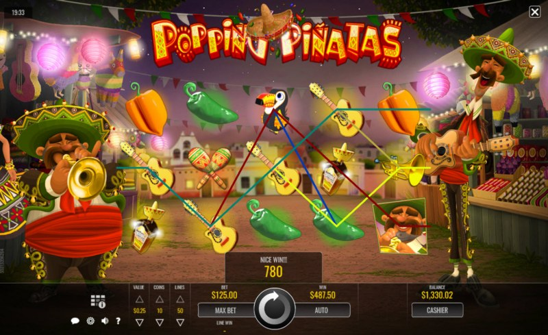 Popping Pinatas :: Multiple winning paylines