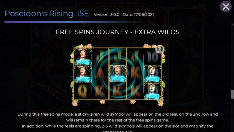 Poseidon's Rising 15 Lines :: Free Spin Feature - Extra Wilds