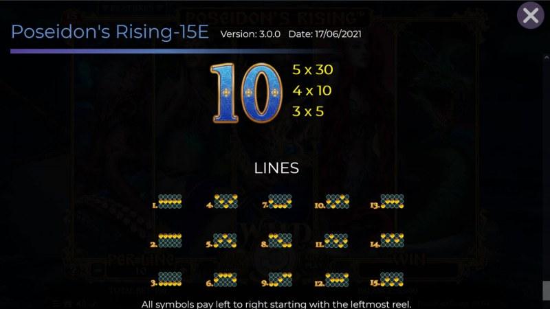 Poseidon's Rising 15 Lines :: Paylines 1-15