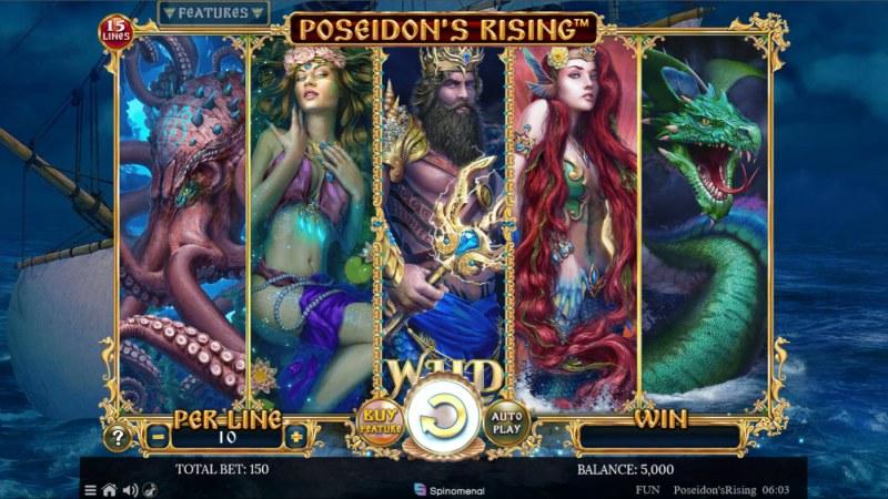 Poseidon's Rising 15 Lines :: Base Game Screen
