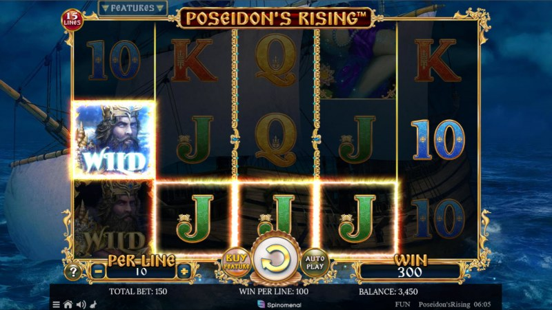 Poseidon's Rising 15 Lines :: A four of a kind win