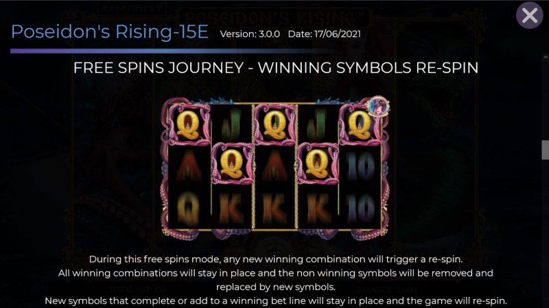 Poseidon's Rising 15 Lines :: Free Spin Feature - Winning Symbols Re-Spin