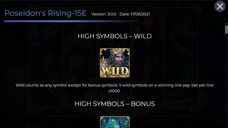 Poseidon's Rising 15 Lines :: Wild Symbol Rules