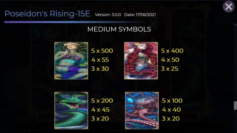 Poseidon's Rising 15 Lines :: Paytable - Medium Value Symbols