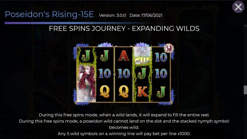 Poseidon's Rising 15 Lines :: Free Spin Feature - Expanding Wilds