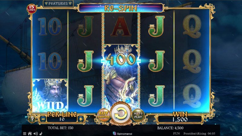 Poseidon's Rising 15 Lines :: Re-Spin feature triggers multiple winning paylines