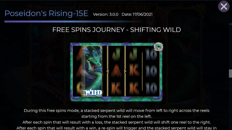 Poseidon's Rising 15 Lines :: Free Spin Feature - Shifting Wild