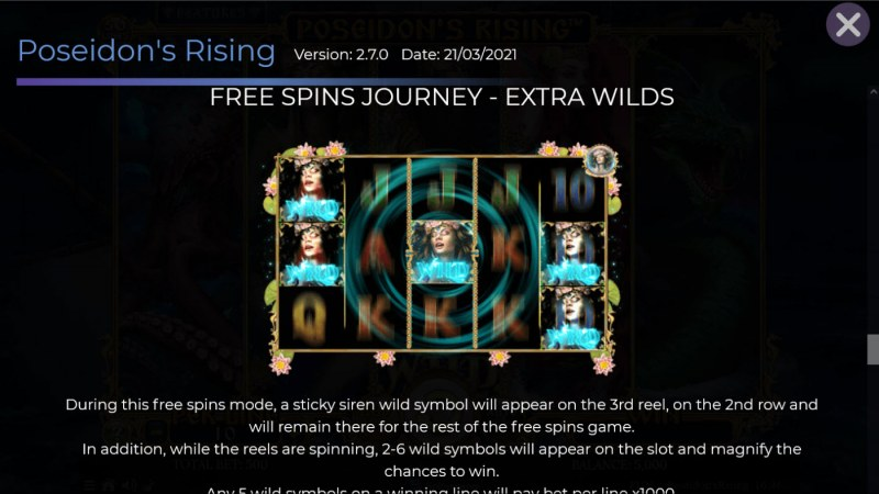 Poseidon's Rising :: Free Spin Feature - Extra Wilds