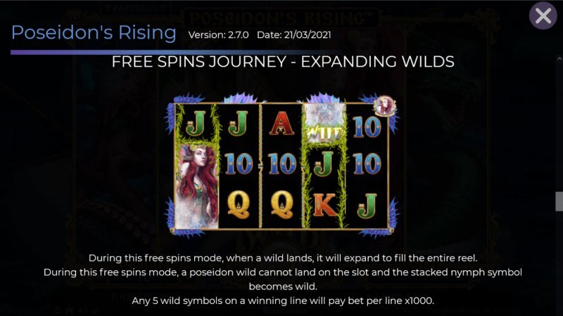 Poseidon's Rising :: Free Spin Feature - Expanding Wild