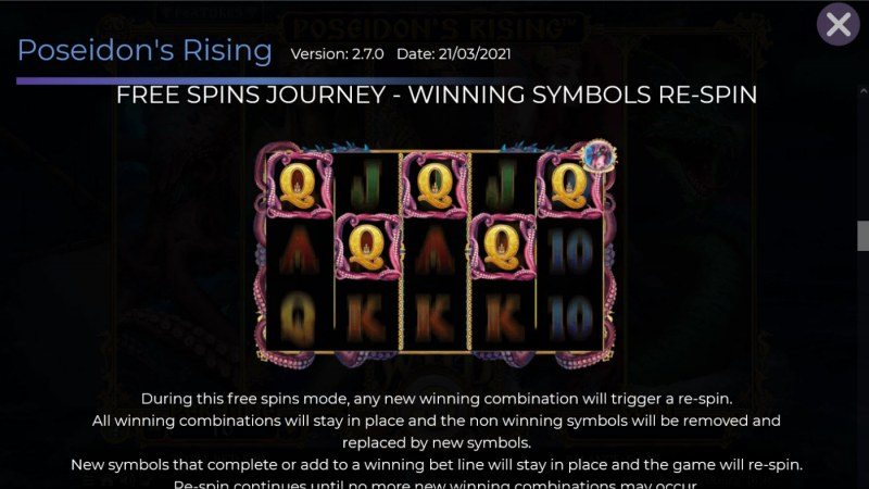 Poseidon's Rising :: Free Spin Feature - Winning Symbols Re-Spin