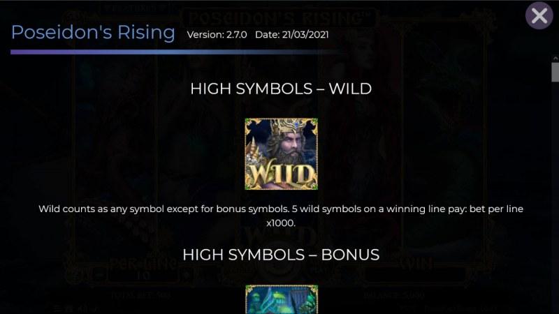 Poseidon's Rising :: Wild Symbol Rules