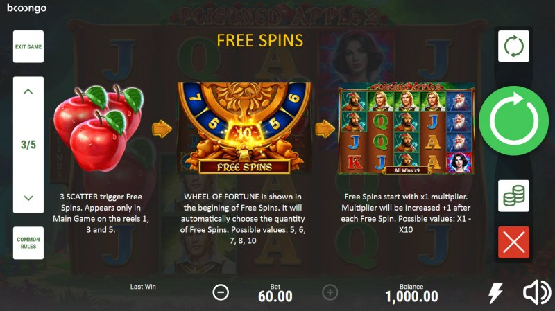 Posioned Apple 2 :: Free Spin Feature Rules