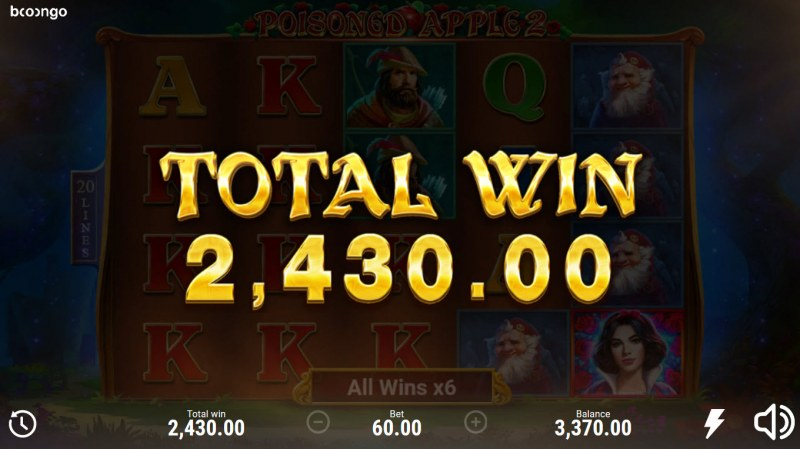 Posioned Apple 2 :: Total Free Spins Payout