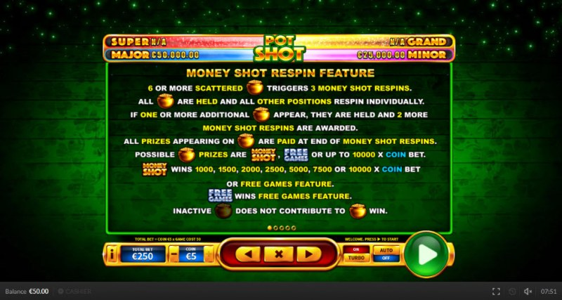 Pot Shot :: Money Shot Respin feature