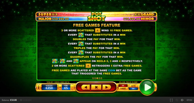 Pot Shot :: Free Spins Rules