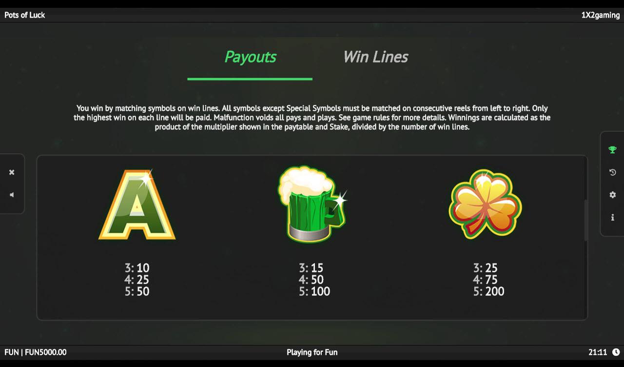 Pots of Luck :: Paytable - Medium Value Symbols