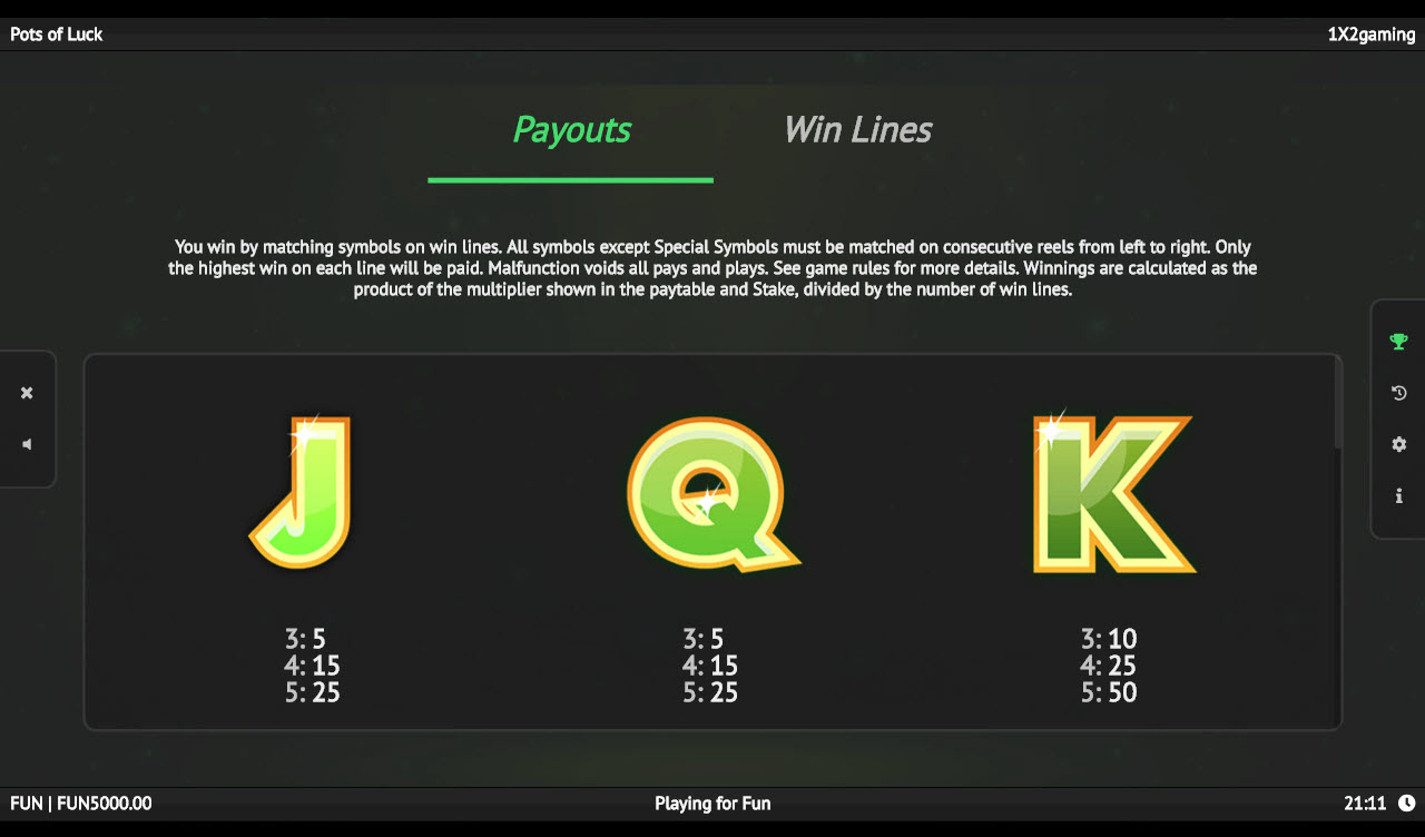 Pots of Luck :: Paytable - Low Value Symbols