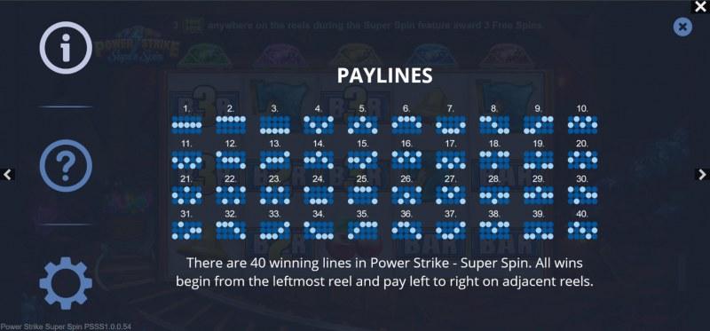 Power Strike Super Spins :: Paylines 1-40