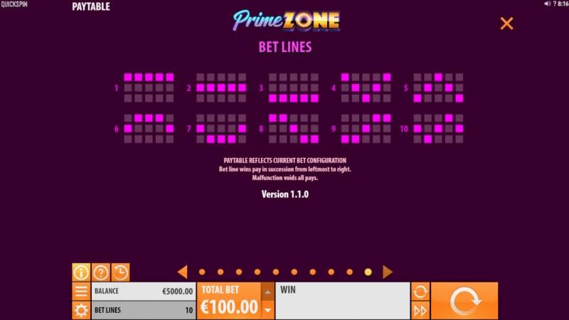 Prime Zone :: Paylines 1-10