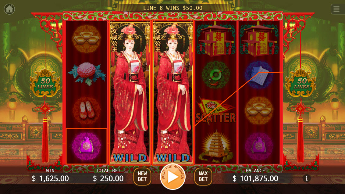 Princes Wencheng :: Stacked wild symbols triggers multiple winning paylines