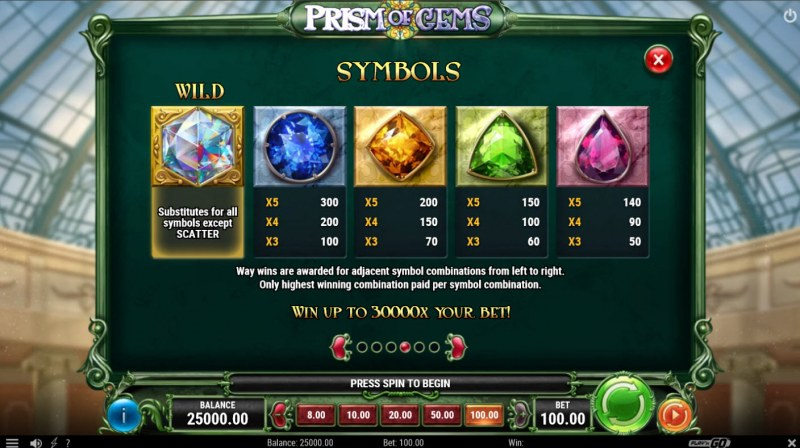 Prism of Gems :: Paytable - High Value Symbols