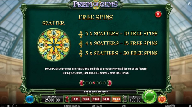 Prism of Gems :: Free Spin Feature Rules