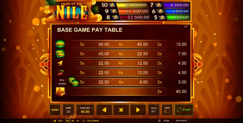 Prize of the Nile :: Paytable - Low Value Symbols