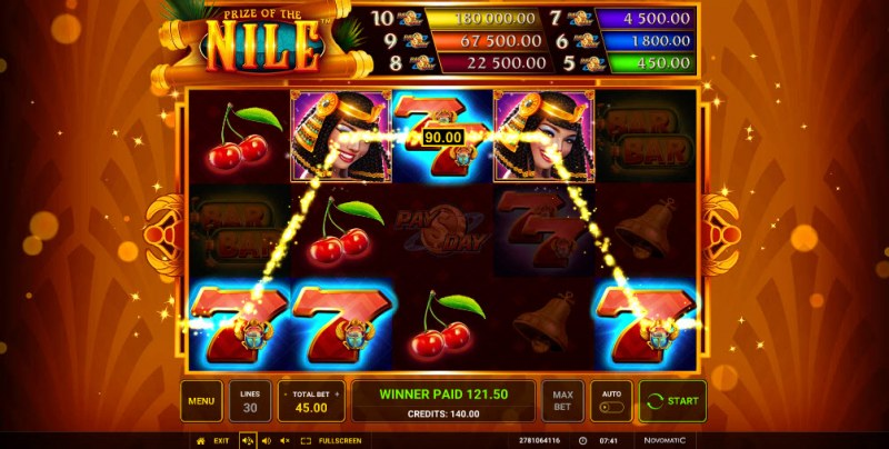 Prize of the Nile :: Multiple winning paylines