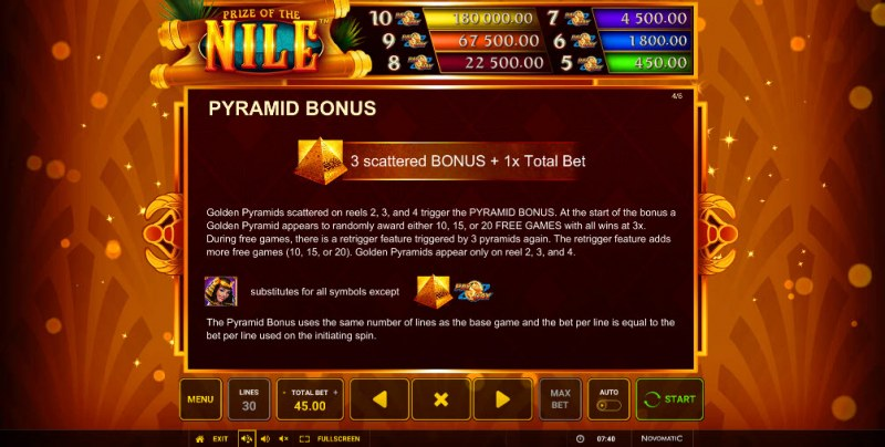 Prize of the Nile :: Free Spins Rules