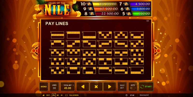 Prize of the Nile :: Paylines 1-30