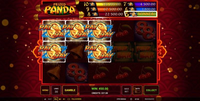Prized Panda :: Five scatter symbol triggers Pay Day jackpot