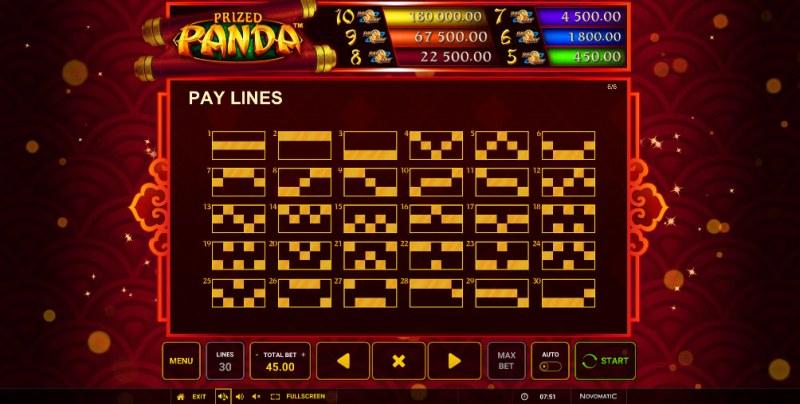 Prized Panda :: Paylines 1-30