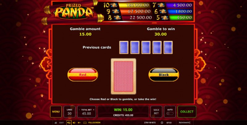 Prized Panda :: Red or Black Gamble Feature
