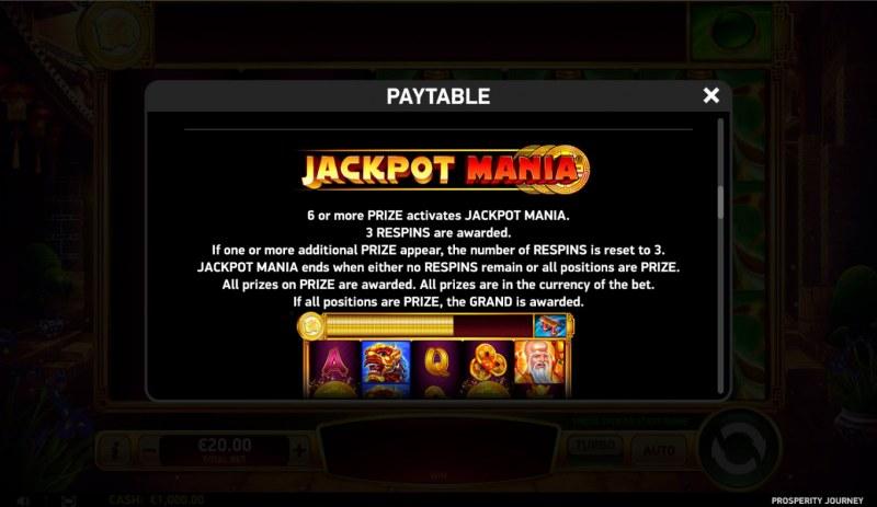 Prosperity Journey :: Jackpot Rules