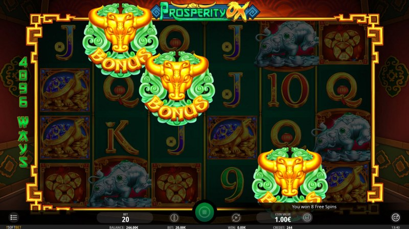 Prosperity Ox :: Scatter symbols triggers the free spins feature