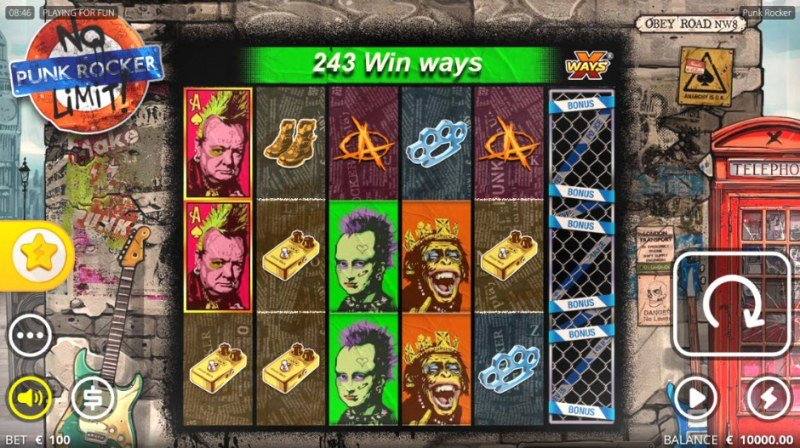 Play slots at Slot King: Slot King featuring the Video Slots Punk Rocker No Limit with a maximum payout of $486,000