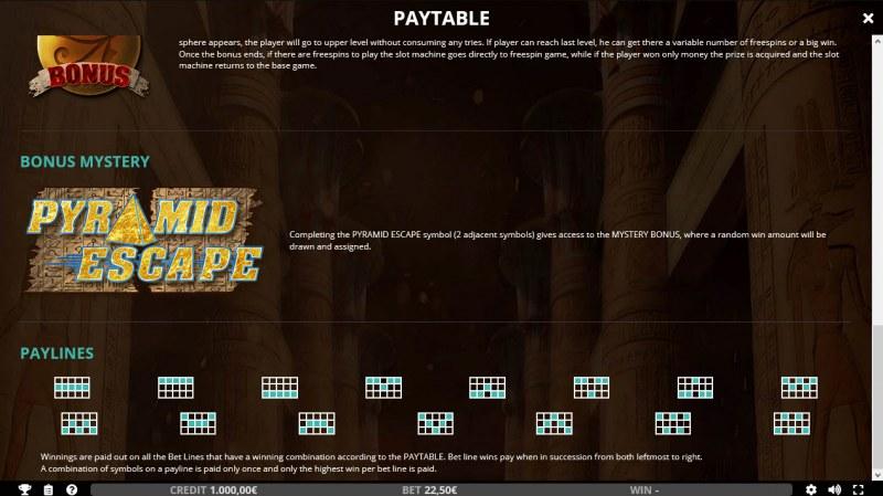 Pyramid Escape :: Bonus Game Rules