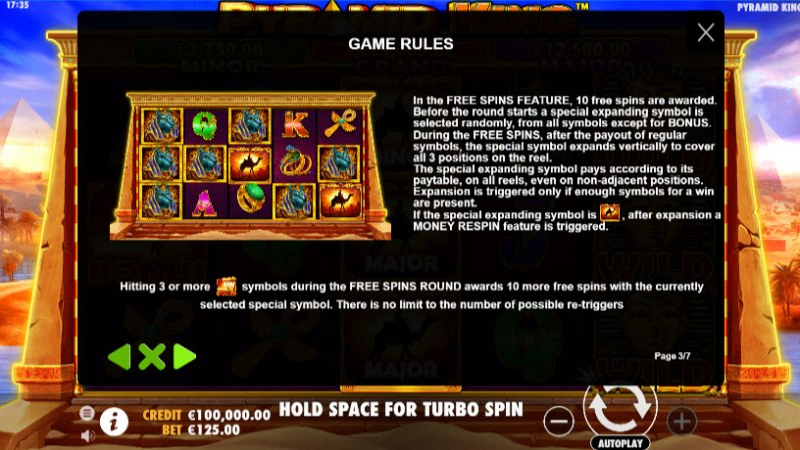 Pyramid King :: Free Spins Rules