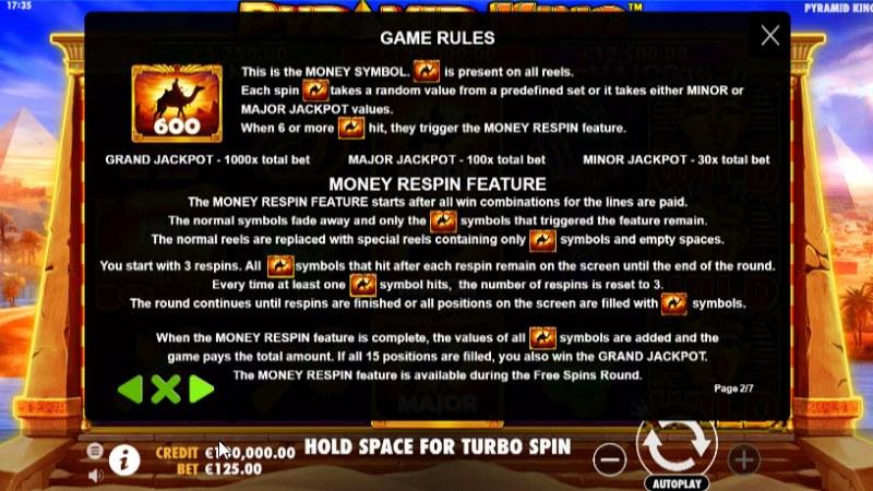 Pyramid King :: Money Symbol Rules