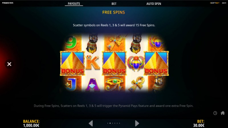 Pyramid Pays :: Free Spin Feature Rules