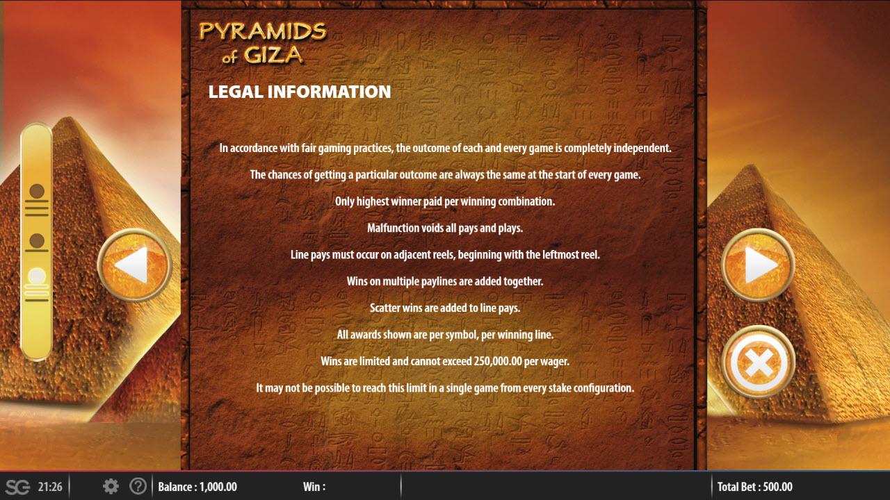 Play slots at Mega Casino: Mega Casino featuring the Video Slots Pyramids of Giza with a maximum payout of $250,000