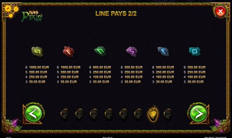 Pyro Pixie :: Paytable - Low Value Symbols