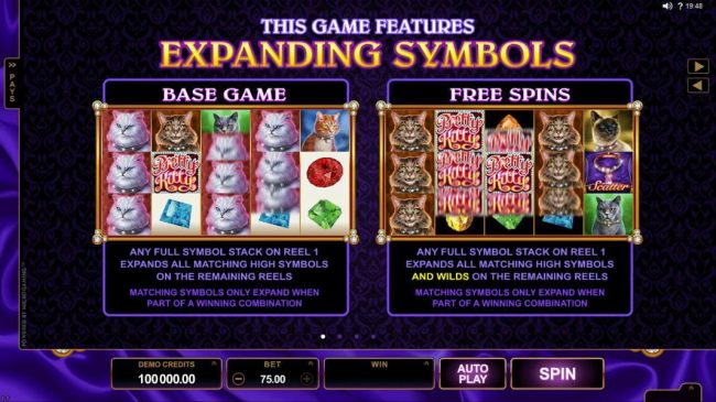 Reel Vegas featuring the Video Slots Pretty Kitty with a maximum payout of $70,000