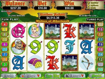 Mega 7's featuring the Video Slots Prince of Sherwood with a maximum payout of $250,000
