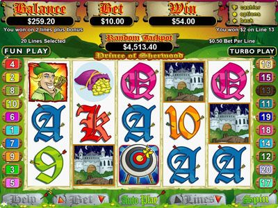 Slots.com featuring the Video Slots Prince of Sherwood with a maximum payout of $250,000